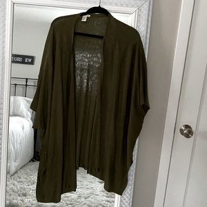 H&M cardigan open front sweater duster olive green